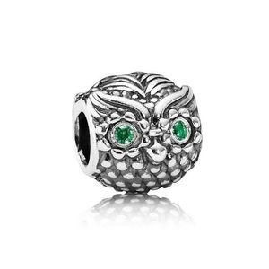 Pandora RETIRED Wise owl charm green silver